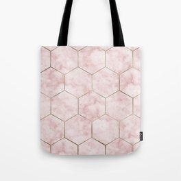 Cloudy pink marble hexagons Tote Bag