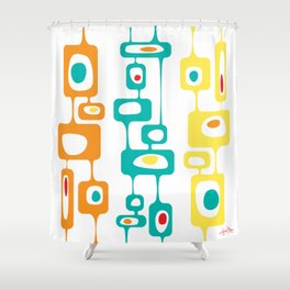 Googie Towers in orange, turquoise, and yellow Shower Curtain