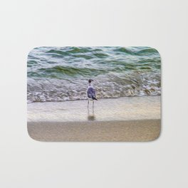 A Seagull Looks Out to Sea Bath Mat