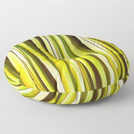 Yellow Ochre and Brown Stripy Lines Pattern Floor Pillow