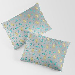 gold,blue silver metal dollar Pillow Sham