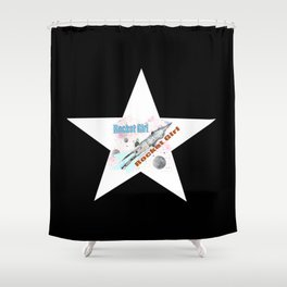 Rocket Girl with Star Shower Curtain