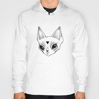 loll3 Hoodies featuring White Kitten by lOll3