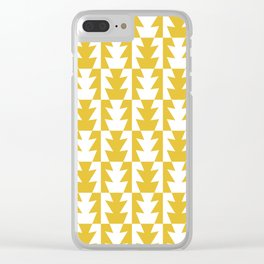 Art Deco Jagged Edge Pattern Mustard Yellow Clear iPhone Case