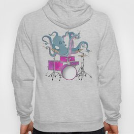 Octopus Playing Drums - Blue Hoody