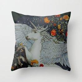 te second last unicorn Throw Pillow