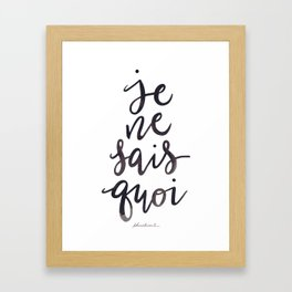 Je Ne Sais Quoi —Version 1 (White Background) Framed Art Print