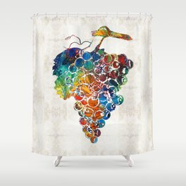 Colorful Grapes Fruit Art by Sharon Cummings Shower Curtain