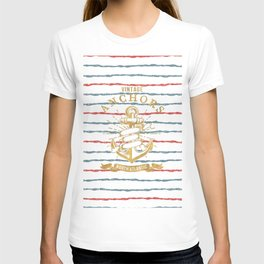 Maritime Design- Nautic Vintage Anchor on stripes in blue and red T-shirt