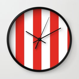 rayures blanches et rouges 7 Wall Clock
