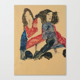 """Egon Schiele """"Zwei Mädchen (Two girls)"""" Canvas Print"""