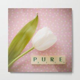 Pure - White Tulip Metal Print