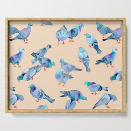 Flock of Pigeons Serving Tray