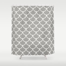 Grey Fish Scales Pattern Shower Curtain