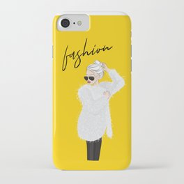 Girl in fluffy fur iPhone Case