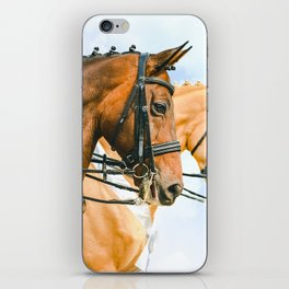 Side view portrait of two braided horses, blue sky as a background. iPhone Skin