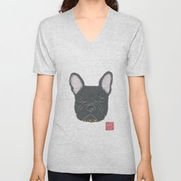 Black French Bulldog, FRENCHIE, Dog Unisex V-Neck
