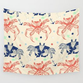 Nautical Formal Crabs Wall Tapestry