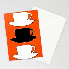 Retro Coffee Print - Black & White Cups on Burnished Orange Background Stationery Cards