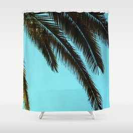 High-Contrast Palm Fronds Shower Curtain