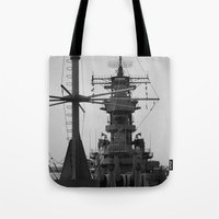 wisconsin Tote Bags featuring USS Wisconsin by Kelly Stiles