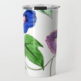 A Purging Pharbitis Vine in full blue and purple bloom - Vintage illsutration Travel Mug