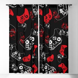 Video Game Red on Black Blackout Curtain
