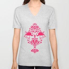 Flamingo Damask Unisex V-Neck