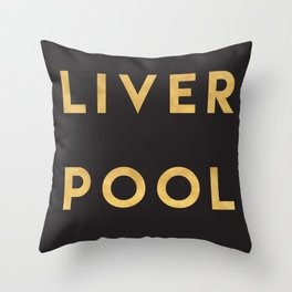 LIVERPOOL ENGLAND GOLD CITY TYPOGRAPHY Throw Pillow