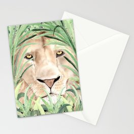 Lion staring through savanna grass, watercolor art.  Stationery Cards