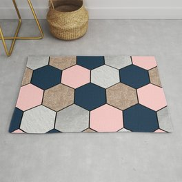 Navy and peach marble and foil hexagons Rug