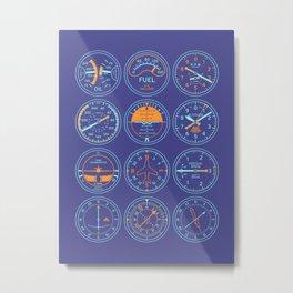 Aircraft Flight Instruments - Full Purple Metal Print