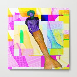 Glitch Mermaid  Metal Print
