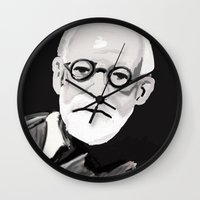 freud Wall Clocks featuring Freud  by BJD124