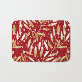 Christmas colorful pattern. Gold sprigs on a red background. Bath Mat