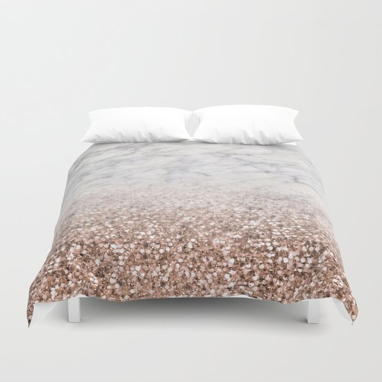 Bold Ombre Rose Gold Glitter White Marble Duvet Cover By