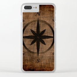 Nostalgic Old Compass Rose Clear iPhone Case