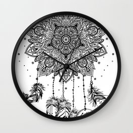 Native American Indian talisman dreamcatcher with feathers Wall Clock