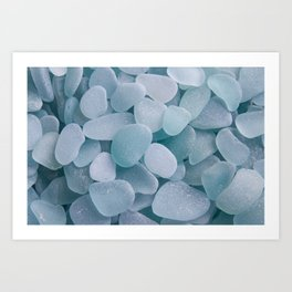 Aqua Sea Glass - Up Close & Personal Art Print