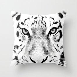 White Tiger Print Throw Pillow