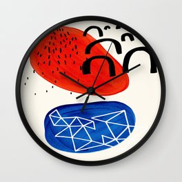 Mid Century Modern abstract Minimalist Fun Colorful Shapes Patterns Orange Blue Bubbles Organic Wall Clock