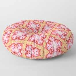 Red White Gold Pattern Floor Pillow