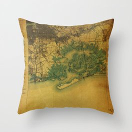 Brooklin 1898 vintage map, usa old vintage maps Throw Pillow