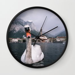Swan on Lago di Como - Landscape and Nature Photography Art Print Art Print Wall Clock