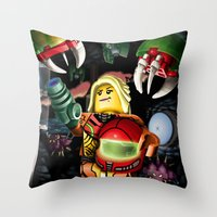 metroid Throw Pillows featuring LEGO Metroid!! by Meteo Designs