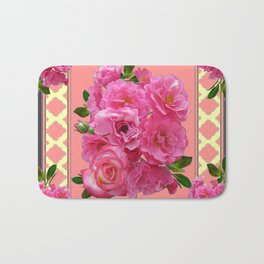 VINTAGE STYLE PINK ROSES PATTERN GREY ART Bath Mat