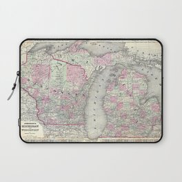 Michigan and Wisconsin map print from 1863 Laptop Sleeve
