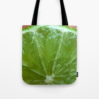 lime green Tote Bags featuring Lime Green and Fresh by BluedarkArt