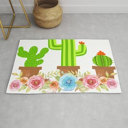 Simple Greeny Cactus Plant Tee For You With Illustration Of A Simple Flowery Cactus T-shirt Design Rug