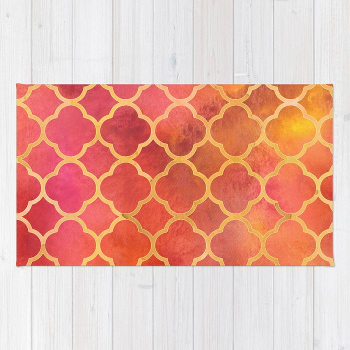 Red And Gold Quatrefoil Rug